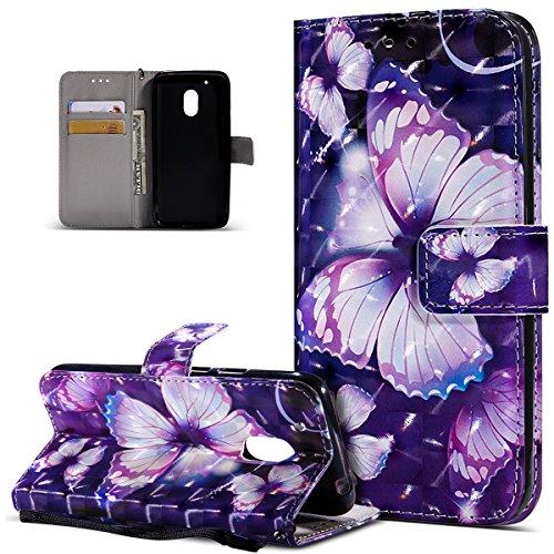 Kompatibel mit Motorola Moto G4 Play Hülle,3D Bunte Gemalte Schmetterlings PU Lederhülle Flip Ständer Wallet Handy Hülle Tasche Handy Tasche Schutzhülle für Motorola Moto G4 Play,Lila Schmetterling