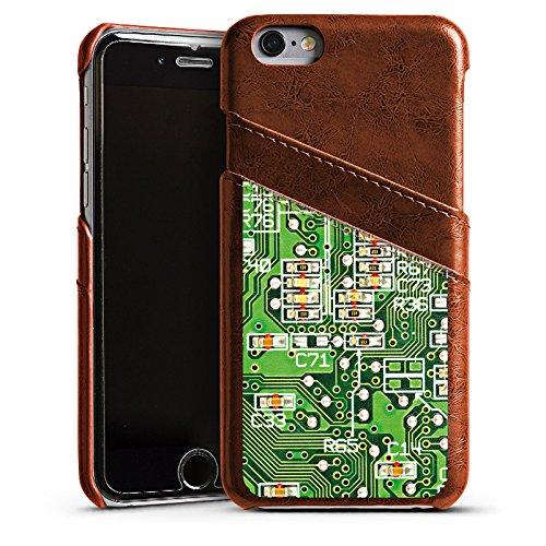 Apple iPhone 5s Housse Étui Protection Coque Platine Ordinateur Motif Étui en cuir marron