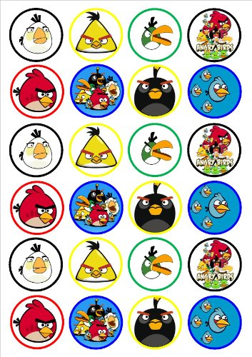 Image of Angry Birds Edible PREMIUM THICKNESS SWEETENED VANILLA,Wafer Rice Paper Cupcake Toppers/Decorations