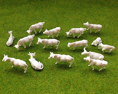 Evemodel 100 Stk. verschieden Kühe Rinder Tierfiguren unbemalt Spur H0