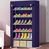 Sasimo Multipurpose Portable Folding Shoes Rack 6 Tiers Multi-Purpose Shoe Storage Organizer Cabinet Tower with Iron and…