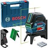Bosch Professional Kruislijnlaser GCL 2-15G (Groene Laser, Met Loodpunten, Werkbereik: 15 m, 3x 1,5V-Batterijen, Draaihouder