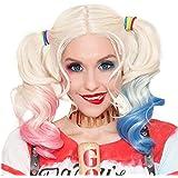 Cisne 2013, S.L. Peluca para Mujer de Harley Quinn Color Rubio con Colores Azul y Rojo para Halloween o Carnaval. Peluca Disf
