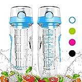 Balhvit Trinkflasche, 946ml/32oz [BPA Frei Tritan] Auslaufsicher Trinkflaschen Sport, Kunststoff Wasserflasche mit Fruchteinsatz & 1-click-öffnet Flip Top, Wasser Flasche Ca. 1L, Sportflasche Kinder