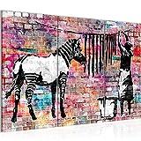 Bilder Banksy Washing Zebra Wandbild 120 x 80 cm Vlies - Leinwand Bild XXL Format Wandbilder Wohnzimmer Wohnung Deko Kunstdrucke Bunt 3 Teilig -100% MADE IN GERMANY - Fertig zum Aufhängen 012931c