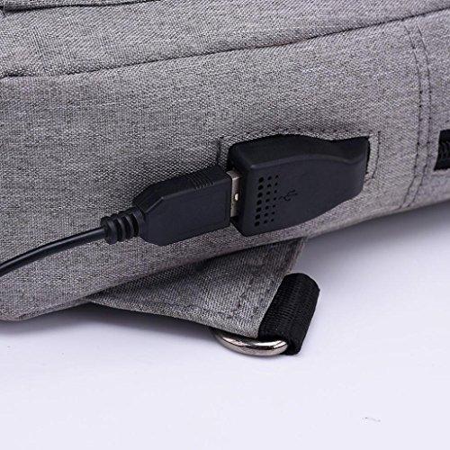 Unisex Borsa Toracica Ricaricabile, Fashion Package Simple Ricaricabile Borsa Toracica Zaino Spalla Borsa di Kangrunmy Grigio scuro