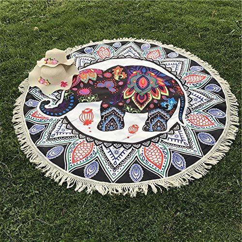 PIPIFENG Elefant gesäumt Badetuch Tapisserie Wandbehang Strand werfen Decke Hippie Bettdecke Yoga Mat Blanket (Hippie Decke Werfen)