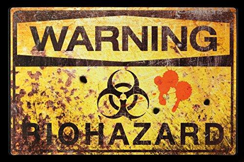 Placa para puerta warnschild   Warning–Biohazard   Alerta Radio activo Gift basura divertido Diversión–Placa metálica