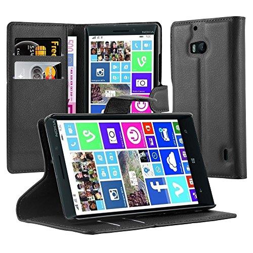 Cadorabo Custodia Libro per Nokia Lumia 929/930 in Nero Carbone – con Vani di Carte, Funzione Stand e Chiusura Magnetica – Portafoglio Cover Case Wallet Book Etui Protezione