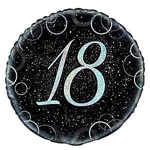 Unique Party Globo Foil de 18 cumpleaños, Color Plateado metálico Brillante, 45 cm (55819)