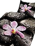 2 tlg. Bettwäsche 135 x 200 cm in schwarz/pink aus Baumwoll-Renforcé Blumen und Steine Digitaldruck Set mit Reißverschluss