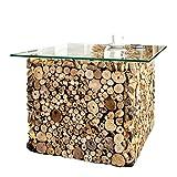 Massiver Treibholz Couchtisch FOSSIL Teak Elemente in Handarbeit gefertigt mit Glasplatte Holztisch Wohnzimmer