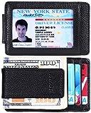 Money Clip Front Pocket Leather Wallet for Men RFID Blocking Magnet Slim Card