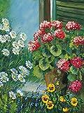 Artland Qualitätsbilder I Bild auf Leinwand Leinwandbilder Wandbilder 90 x 120 cm Botanik Blumen Malerei Grün D1BM Blumen auf deinem Fenster