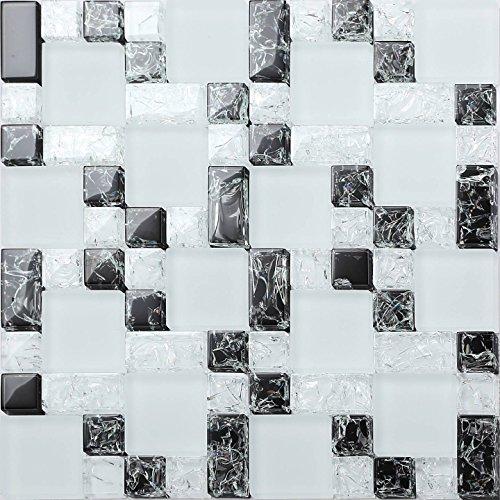Glas-mosaik-fliese (Glas Mosaik Fliesen Matte Steine in Drei Größen in Weiß und Schwarz mit gebrochener, klarer und matter Glas Optik MT0076)