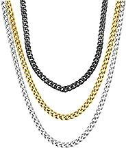 QIAMNI 3 Pcs Stainless Steel Wide Cuban Link Curb Chain Necklace for Men Women 45cm 50cm 55cm 60cm