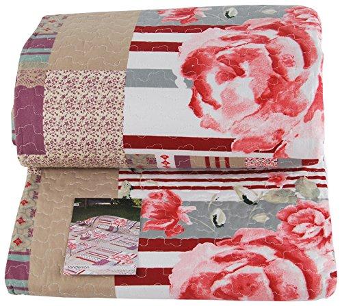 Easy Home Sanderson Bettdecke Steppdecke Bedruckt, Mischgewebe Baumwolle, Koralle/Beige, Doppelbett, 250x 250x 1cm Sanderson Quilt