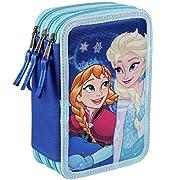 Astuccio 3 scomparti completo di pastelli, pennarelli, penne, matita, temperino, gomma, righello e forbici di Frozen - Il Regno di Ghiaccio.