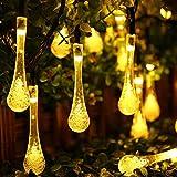 Samoleus 20 LED 4.8 Meter Wassertropfen Lichterkette, Solarlichterkette Außen Lichterkette Weihnachten für Partydekorationen (Wassertropfen-Warmweiß)