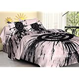 Jaipuri haat Hand Printed Double Cotton Fitted Bedsheets With 2 Pillow Covers (King_Black)