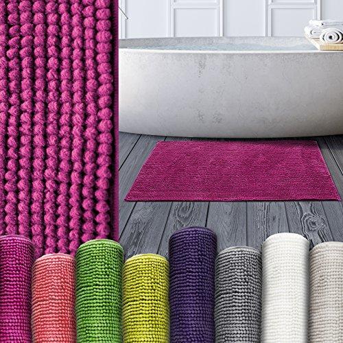 Chenille Badematte Coral | moderner Microfaser Badvorleger in Trendfarben | ÖKO TEX Standard 100 | Komfortgröße 50x80 cm für Badezimmer | Pink