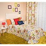 Clara Vidal - Colcha estampada infantil Trafic, Cama 105: 200x270 cm, multicolor