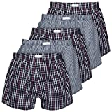 Boxon Boxershorts aus 100% Baumwolle - Web-Boxer gestreift oder kariert - 5er Pack, Mehrfarbig (Kariert), Gr. XXX-Large