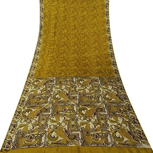 Vintage indische Grün 100% Seide Saree mit Blumenmuster Stoff Ethnic Gebraucht Sari -