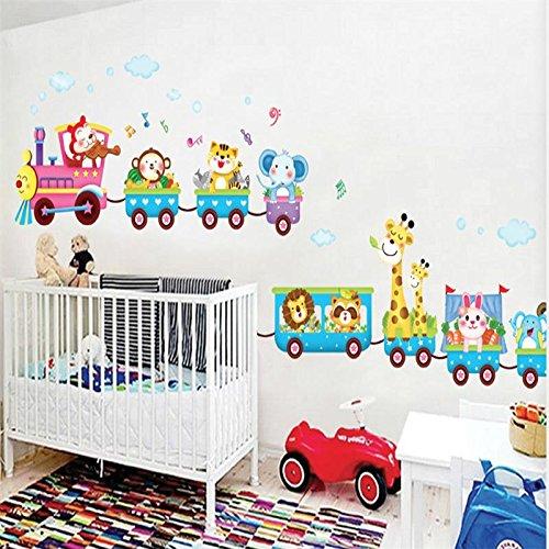 Lovely Cartoon Tiere Zoo Zug Wand Aufkleber Kinder Zimmer Dekoration x020. Tiger Panda DIY Home Aufkleber Kunstdruck PVC Poster 4.0 multi