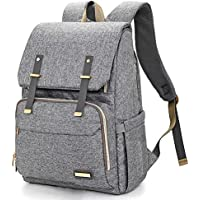 Nappy Changing Bag Backpack - Large Diaper Bags Multi-Function Waterproof Maternity Nappy Back Pack for Baby Care, Stylish and Durable, Grey