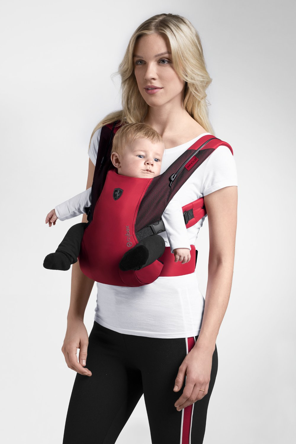 "CYBEX Gold BEYLA.twist Ergonomic Baby Carrier Scuderia Ferrari, From birth to approx. 2 years (approx. 3.5 - 15 kg), Victory Black  Comfortable and versatile adjustable baby carrier: For ergonomic carrying and healthy hip development in babies - Suitable from birth to approx. 2 years (approx. 3.5 - 15 kg), Recommended by the ""International Hip Dysplasia Institute"" Quick and easy putting on/taking off due to practical buckle system, Individually and continuously adjustable, Optimum wearing safety due to safety buckle on the waist belt Width and height-adjustable belt for individual adaptability, Multi-functional head and neck support, Promotes healthy development of the joints through natural squat position 8"