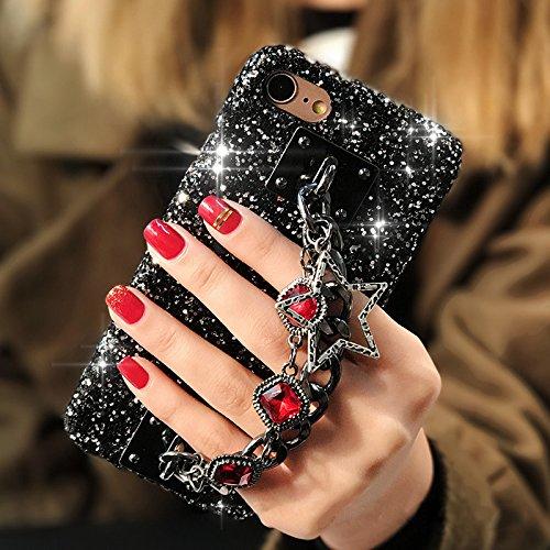 Cover iPhone 8 Plus,Cover iPhone 7 Plus,Custodia iPhone 8 Plus / iPhone 7 Plus Cover,ikasus® Diamanti di cristallo lucidi Glitter con bling glitter Reticolo della traversa del diamante custodia iPhone Rosso
