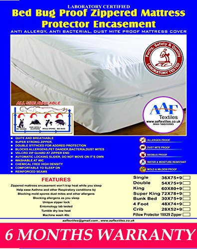 King Bed Bug Proof Mattress Encasement Protector Cover|Absorbent|Anti Allergy|Anti Dust Mite|Anti Bacterial|6 Months Warranty|Non Noisy|Ease Asthma|Itchy Feelings|Allergens|Pet Dander All UK Sizes Single, Small Double, Super King, Bunk, 4ft,Three Quarter ,4foot (King)