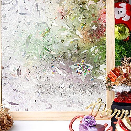 Homein 3D Película de Ventana Brinda Privacidad sin Cola Vinilo Decorativa de Ventana Arcoíris Fenómeno Motivo Tulipán Traslúcido Estático Autoadhesivo Fácil Desmontar y Reutilizar Anti UV 44.5*200cm