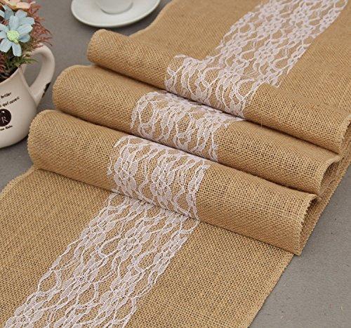 GHKLGY naturel chanvre lin toile de lin table Runner antique mariage décoration intérieure comme image 30 cm de large x 275 cm de long