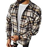 Onsoyours Mens Long Sleeve Shirt Check Plaid Color Block Shirt Casual Formal Shirt Fashion Chic Blouse Tops