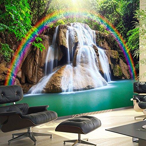murando - Fototapete 250x175 cm - Vlies Tapete - Moderne Wanddeko - Design Tapete - Wandtapete - Wand Dekoration - Wasserfall Regenbogen Natur Landschaft c-C-0007-a-b 5 Regenbogen-akzenten
