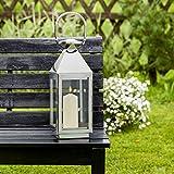 Edelstahl Laterne - Elegant - Standard - Silberne Gartenlaterne - Windlicht - Gartenlicht - Edle Dekoration für Wohnung und Garten - Deko Geschenk-Idee