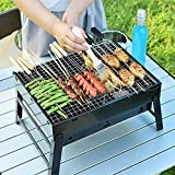 HaRvic Style Folding & Portable Outdoor Barbeque Grill Toaster Charcoal BBQ Grill Oven Black Carbon Steel, Black