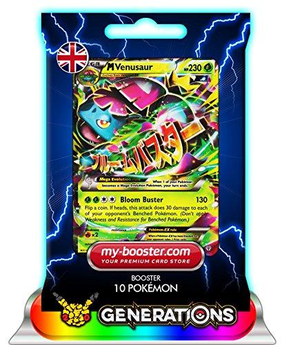 MEGA M VENUSAUR EX (Bisaflor) 2/83 230HP XY Generations- Booster mit 10 Englisch Karten Pokemon my-booster