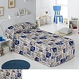 Edredón Conforter Modelo Maria, Color Azul, para Cama de 135