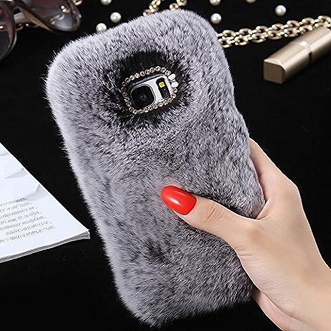 Samsung Galaxy S7 Edge Case, FLOVEME [Imitation Rabbit Hair ] [Washable] [Adorable Case] [Ultra Soft ] Fluffy Villi Faux Fur Plush Protective Phone Cover,Cute Case for Samsung Galaxy S7 Edge,5.5inch -
