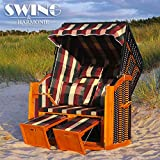 Swing & Harmonie Luxus Strandkorb XXL - 136cm Rügen Volllieger Ostsee Sonneninsel Rattan Möbel Gartenliege Polyrattan (rot/grün/beige)