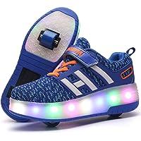 Unisex Enfants LED Doubles roulettes Bouton Poussoir Ajustable Inline Skates Baskets Chaussures de Multisports Outdoor…