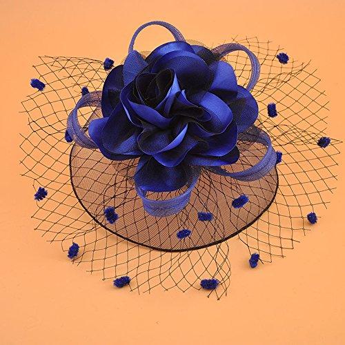 JASNO Brautschleier Dot Mesh Große Blume Mit Haarspange Vintage Stirn Kleinen Hut Kinder & Frauen Kopfschmuck Kurze Haare Zubehör,Darkblue