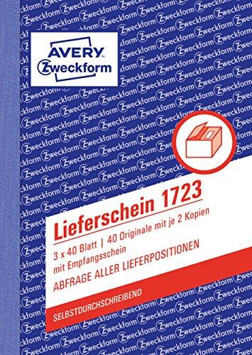 Avery Zweckform 1723 Lieferscheine mit Empfangsschein, DIN A6, mit Empfangsschein, 3 x 40 Blatt, weiß, gelb, rosa