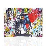 Declea Quadro moderno Pop Art Batman Cartoon Dipinto colorato intelaiato pronto da appendere rifinito a mano - Decorazione murale Canvas per bar, locali, salotto, cucina design