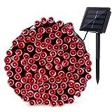 Qedertek Décoration Lumineuse Halloween Guirlande Extérieure Solaire Rouge 22m 200 LED 8 Modes d'éclairage pour Deco Soirée Halloween Jardin (Rouge)