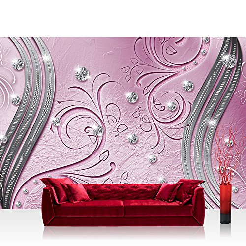 Papel Pintado Fotográfico Premium Plus pared papel pintado fotográfico pared Imagen Papel pintado-de diamantes rayas rúbrica Flores Rosa-No. 2602, Fucsia, Fototapete 254x184cm | PREMIUM Blue Back