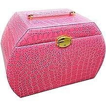 Contever® Portátil Caja joyero con espejos Joyas para Aretes anillo de la pulsera joyería Reloj - Rosa